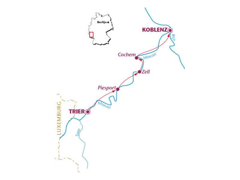 Fietsvakantie Moezel en Saar (6 dagen)